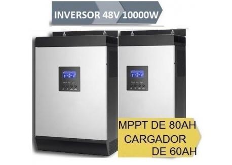 Inversor Híbrido 48v 10000w 2x Mppt 80Ah Ecualización