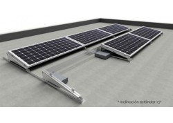 Estructura 3 paneles solares inclinada lastrada 10-15º