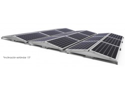 Estructura 4 paneles solares inclinada lastrada 10-15º este-oeste