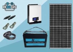 Kit Solar Caravanas 2kwh día con batería litio 1,28kwh