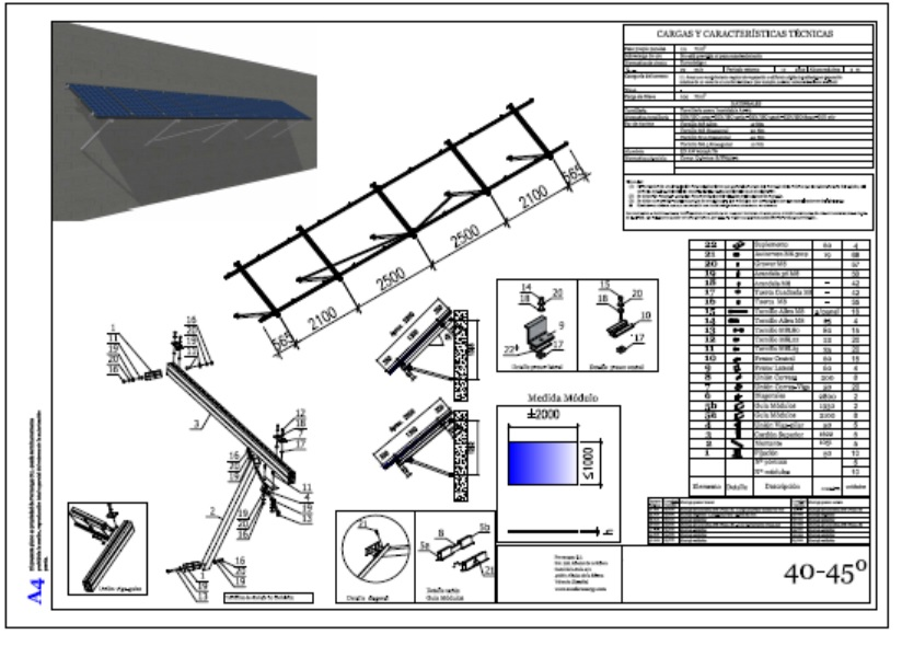 plano de montaje estructura soar