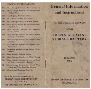 Manual original de edison sobre baterias Ni Fe